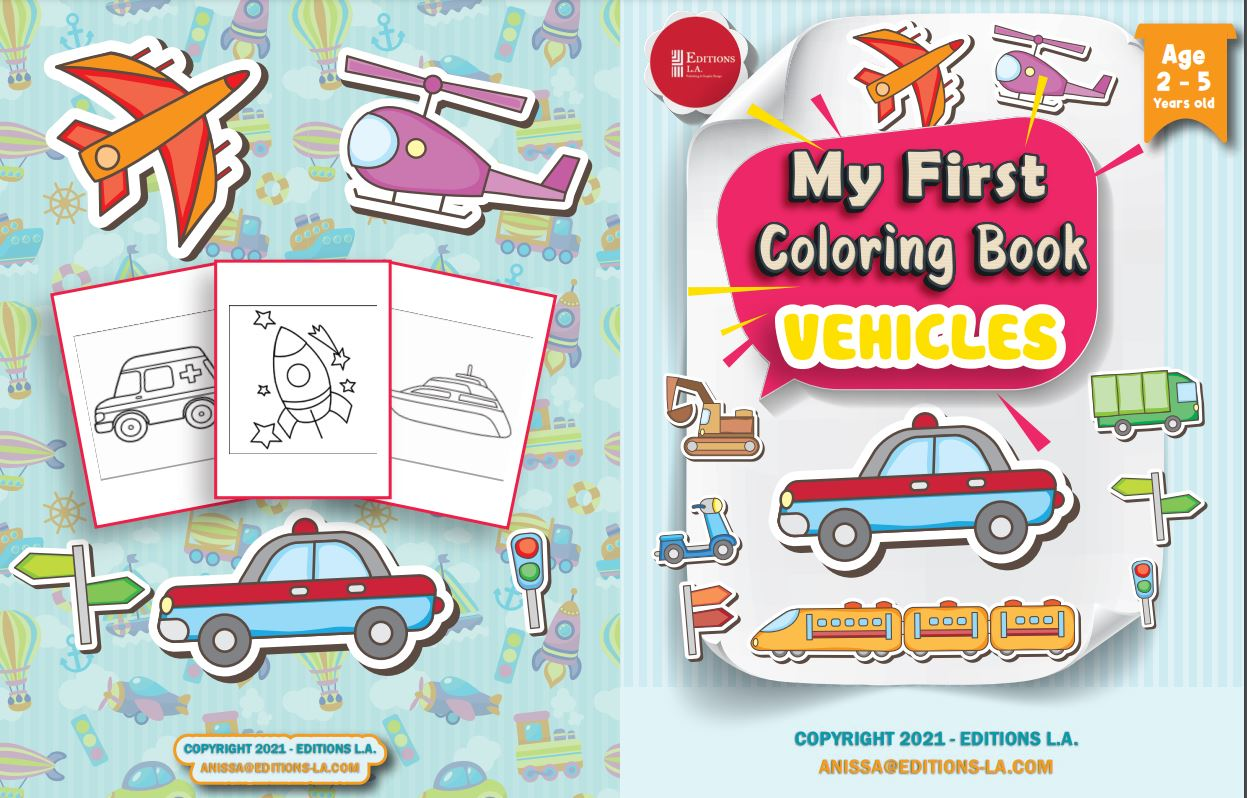 Amazing illustrations of vehicles – Coloring book for children age 2- 7 – Vehicles – On Land, Sea and in the Air